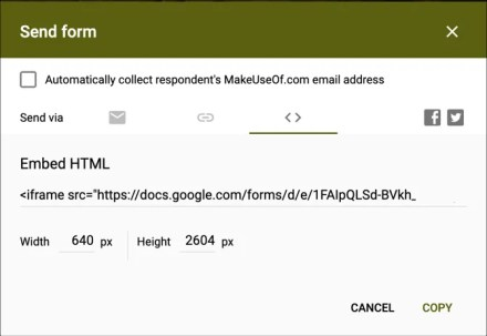 Get Embed Code Google Forms