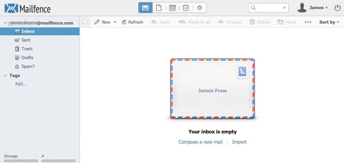 Mailfence Web Inbox