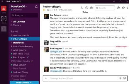 slack chat window