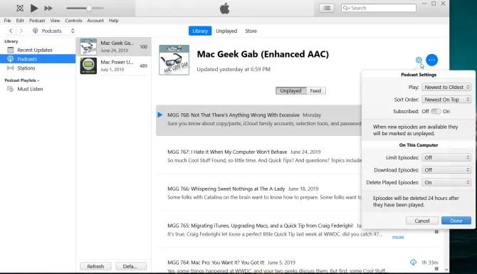 раздел подкастов приложения iTunes