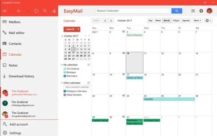 EasyMail for Gmail Calendar view