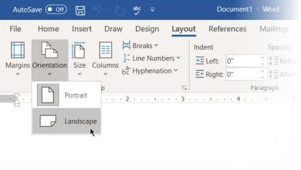 Mind Map in Word-Set Landscape Orientation