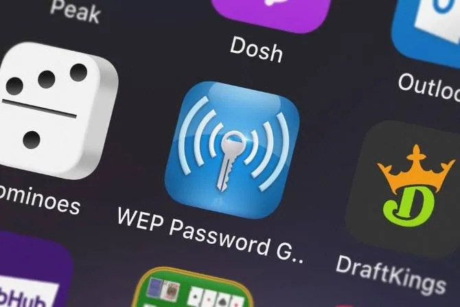 A WEP password generator app on an iPhone