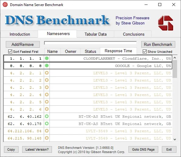 dns bench fastest dns list