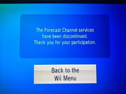 Wii Forecast Discontinued