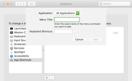 Create Custom Keyboard Shortcut Mac
