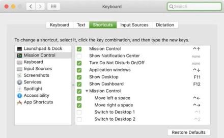 Current Keyboard Shortcuts Mac