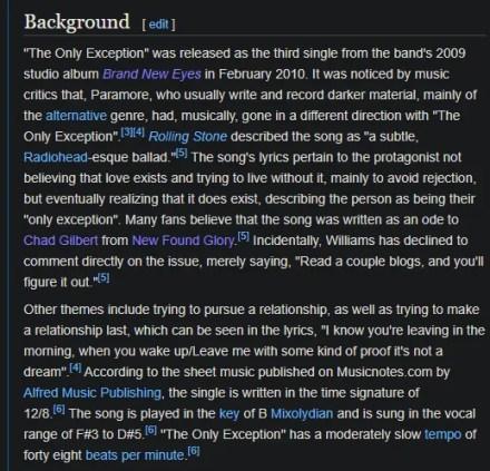 Wikipedia Song Lyrics Background