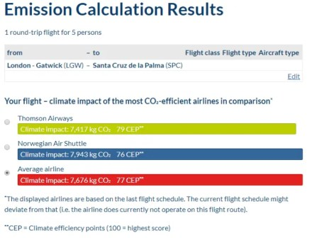 atmosfair carbon calculator offset flight