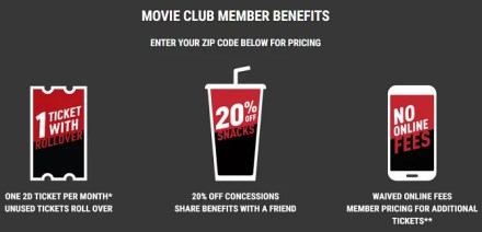MoviePass alternatives - Cinemark Movie Club