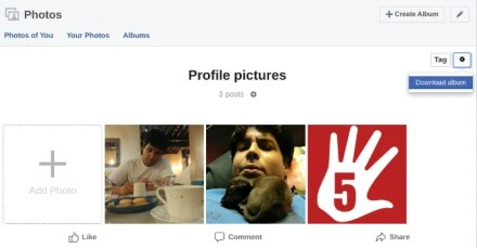 how to download a full photo album from Facebook