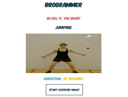 Brogrammer is a web app that reminds you to take breaks and recommends exercises