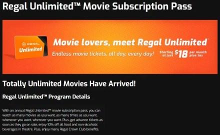 MoviePass alternatives - Regal Unlimited