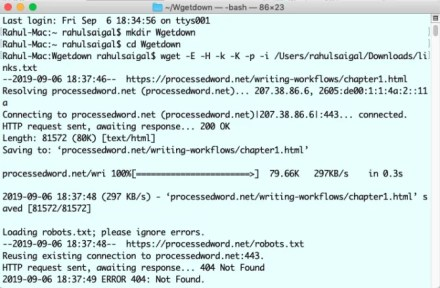 wget command in process