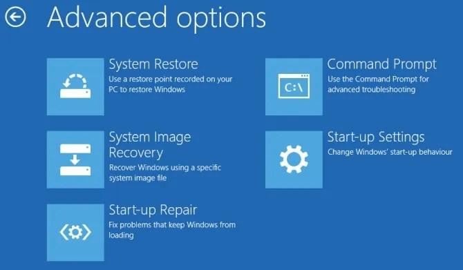 расширенные настройки запуска Windows 10