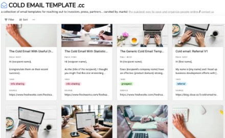 Cold Email Template has 40 free templates to send cold emails for career growth