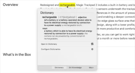 Look Up Force Touch feature showing dictionary for a word