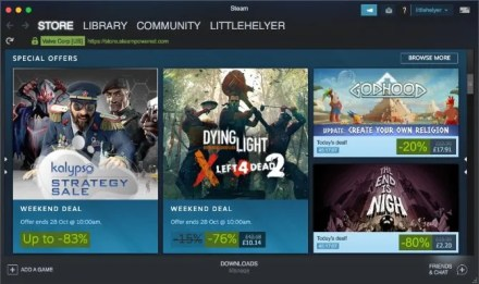 Steam store on macOS showing video games on sale