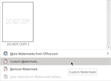 Insert custom watermark in Word