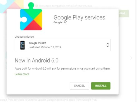 Google Play Services in the web browser