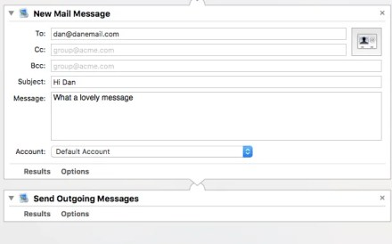 automator outgoing message schedule email mac