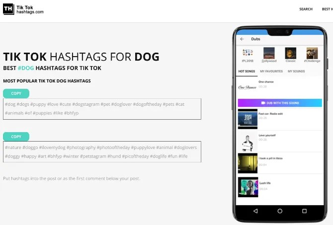 TikTok Hashtags automatically generates trending hashtags based on a keyword to get you more fans and followers for