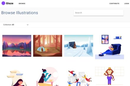 Glaze offers a large library of free, low-resolution illustrations