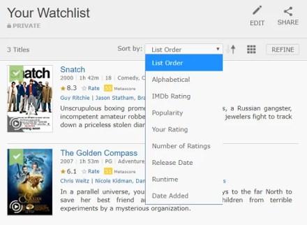 imdb watchlist sort options