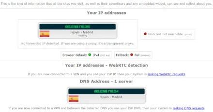 IP Leak Testing a VPN in Spain