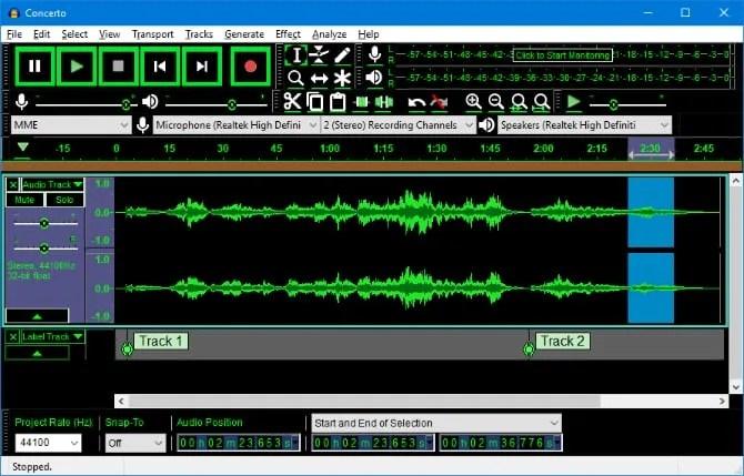 Audacity editing an audio file