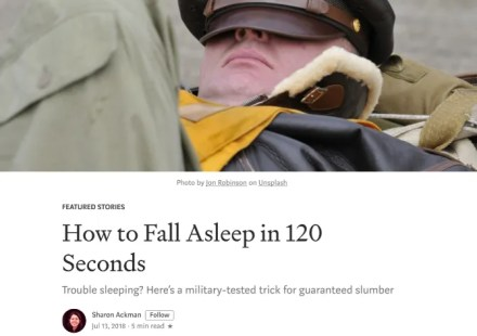 Learn the U.S. Navy Pre-Flight School's military method for falling asleep anywhere in 120 seconds