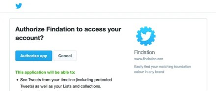Access Findation Through Twitter Account