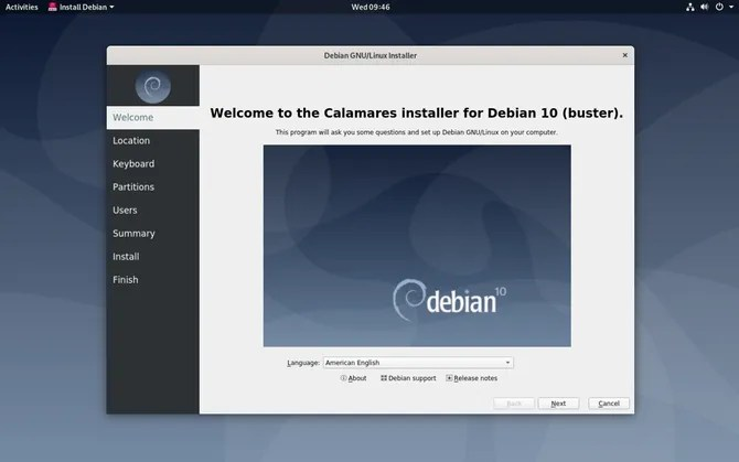 Процесс установки Debian GNOME Live CD