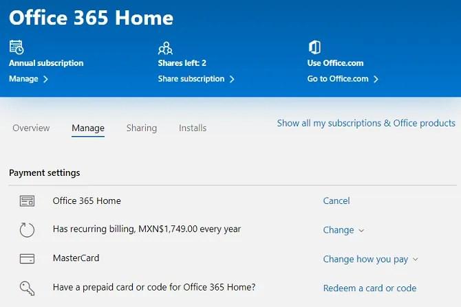 отменить подписку на офис 365