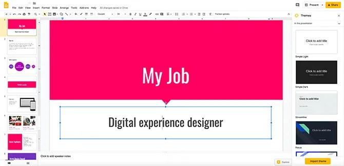Приложение Google Slides Design