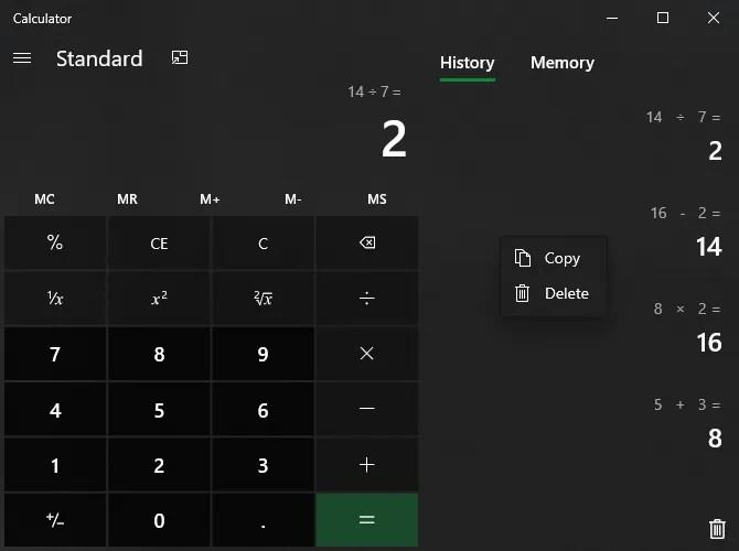 История калькулятора Windows 10