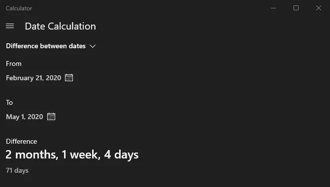 Windows Калькулятор Расчет даты