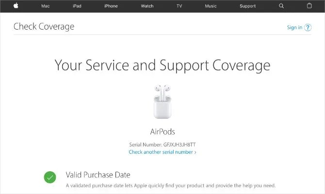 Apple's Check Coverage website showing valid AirPods serial number