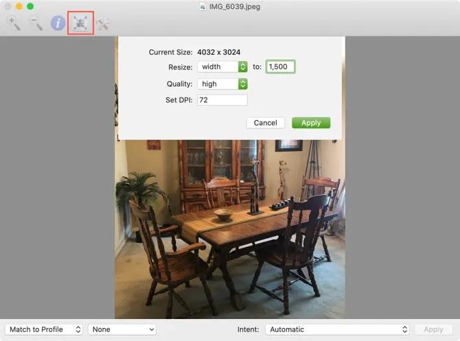 Утилита ColorSync Изменение размера изображения Mac