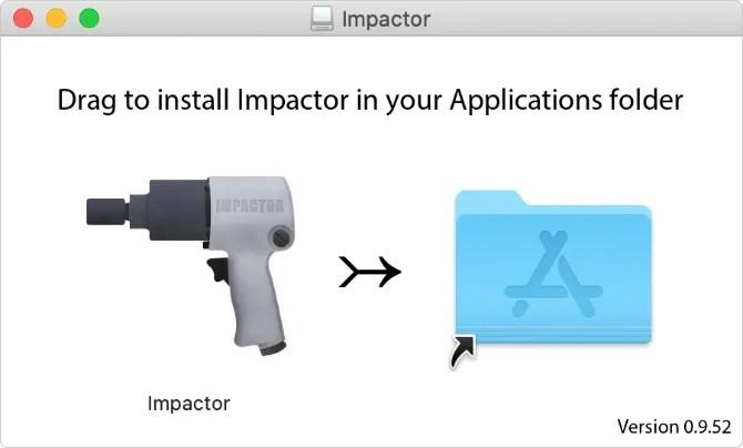 Окно установки Cydia Impactor на macOS