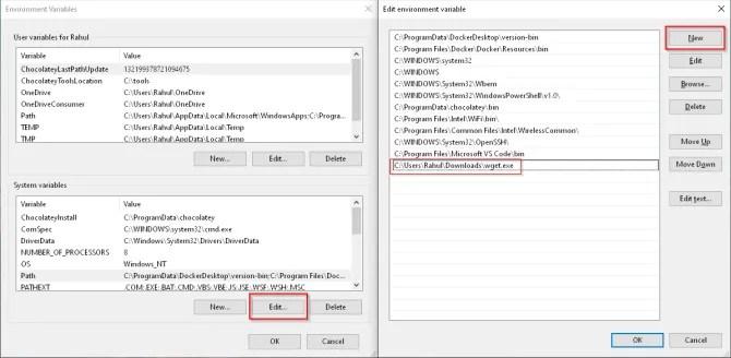 добавить wget в системную переменную окружения