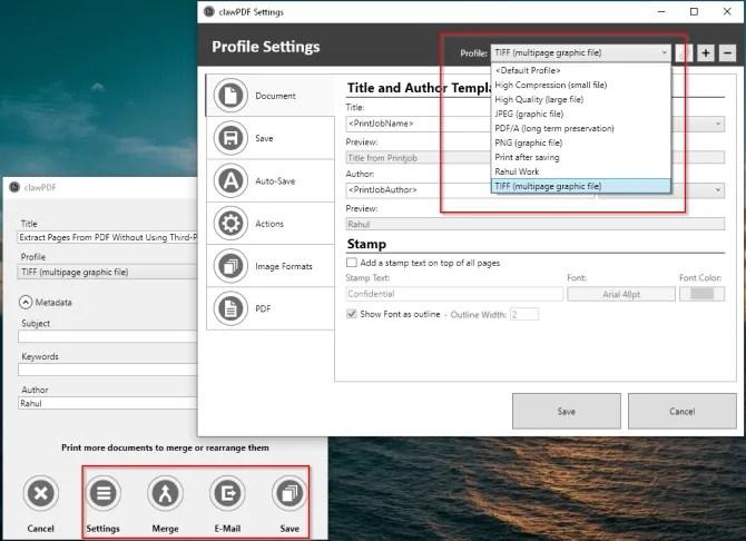 clawPDF multipurpose PDF printer