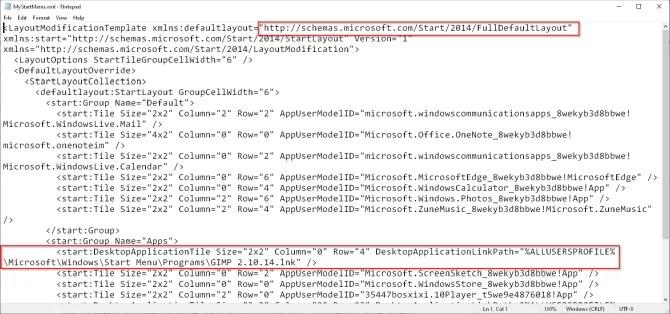 начать макет кода в Windows 1803