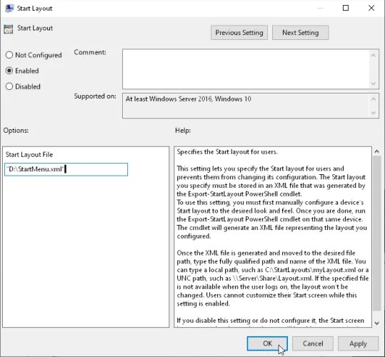 путь к файлу XML в опциях макета запуска