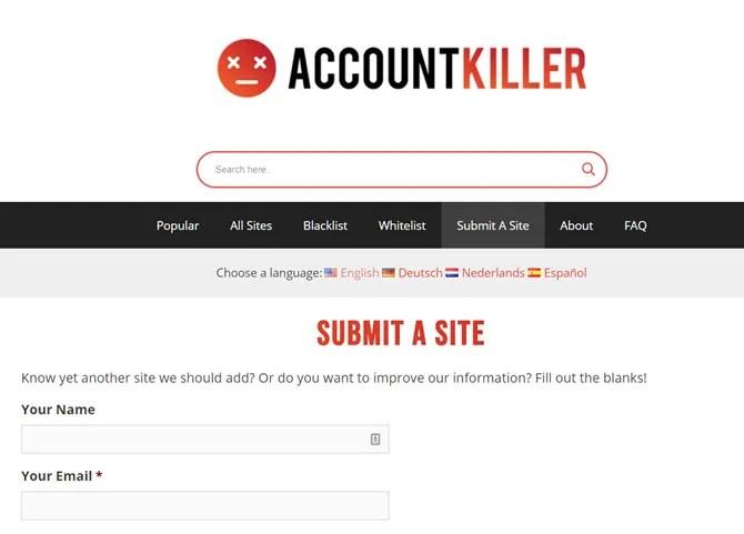 Добавить сайт в AccountKiller