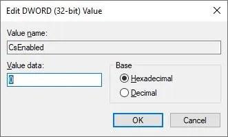 Изменить значение DWORD CsEnabled в реестре Windows