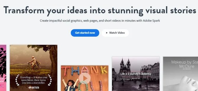 Веб-сайт Adobe Spark