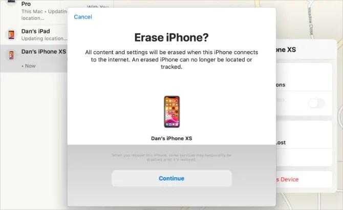 Удалить окно подтверждения iPhone из приложения «Найти мое» на Mac
