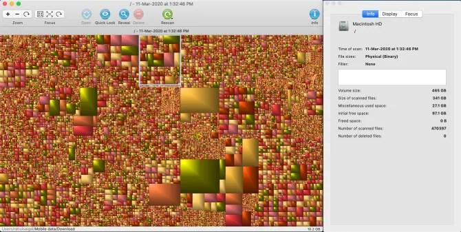 GrandPerspective пользовательский интерфейс