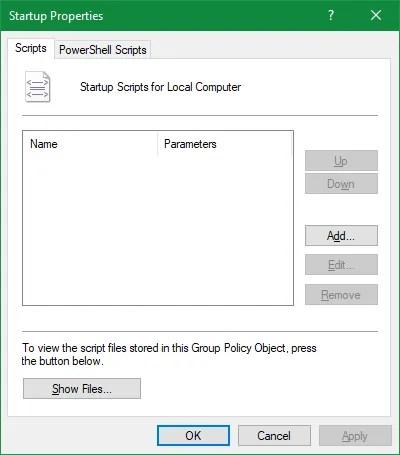 Script de inicio de directiva de grupo
